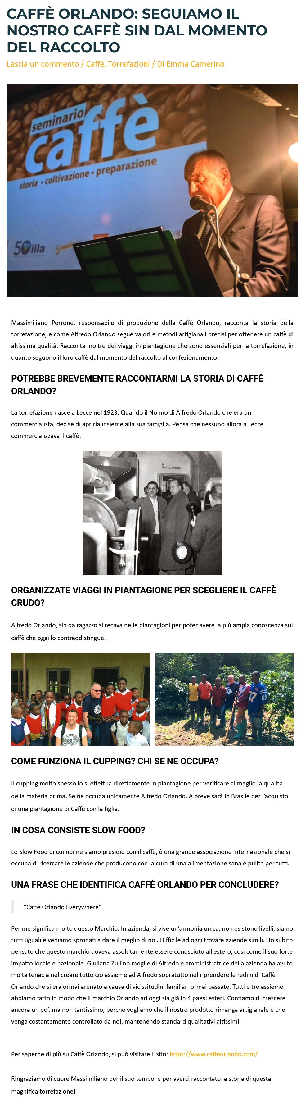 2021-03-08 Caffè Orlando Seguiamo il nostro caffè sin dal momento del raccolto (Sensaterra.com)